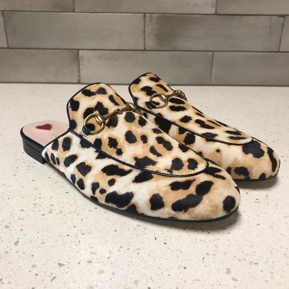 005b6431a871 Gucci Shoes | Princetown Leopard Pony Mules | Poshmark